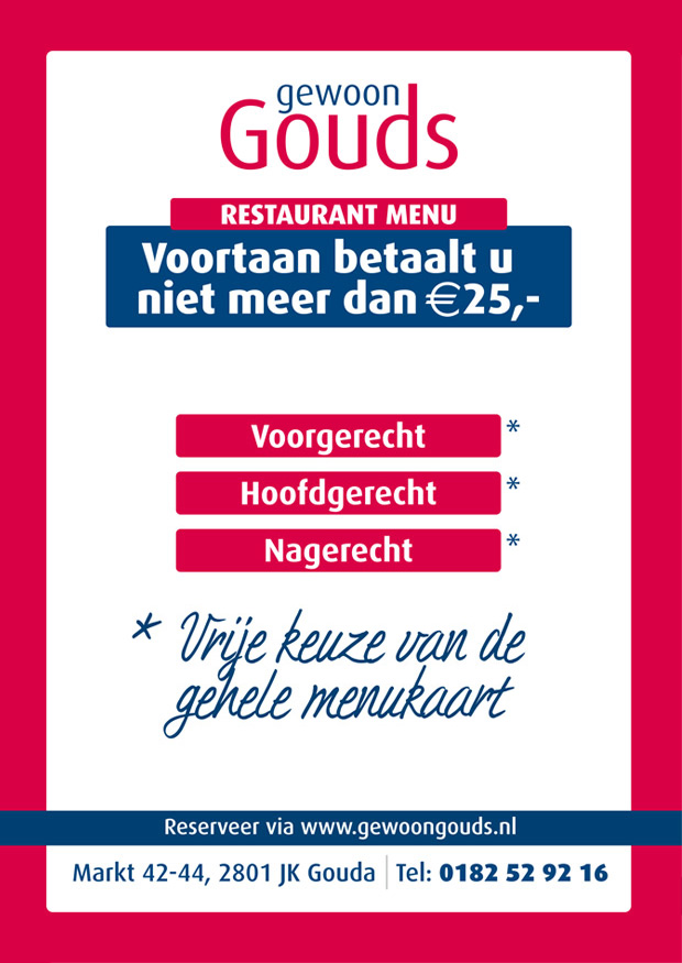 Gewoon Gouds Restaurantmenu € 25